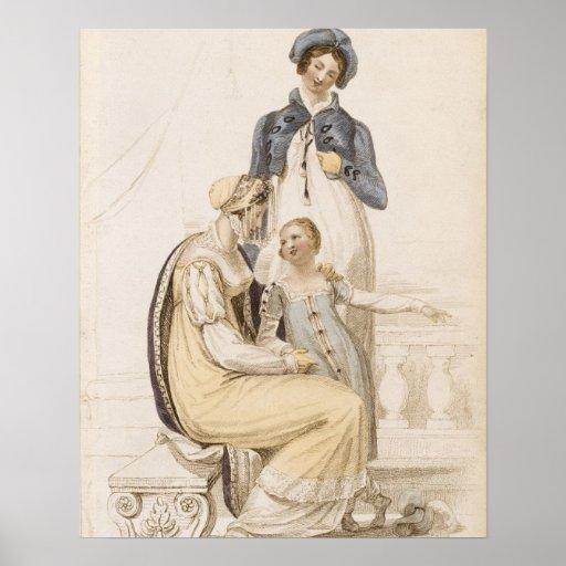 Walking Dresses, fashion plate from Ackermann's Re Print