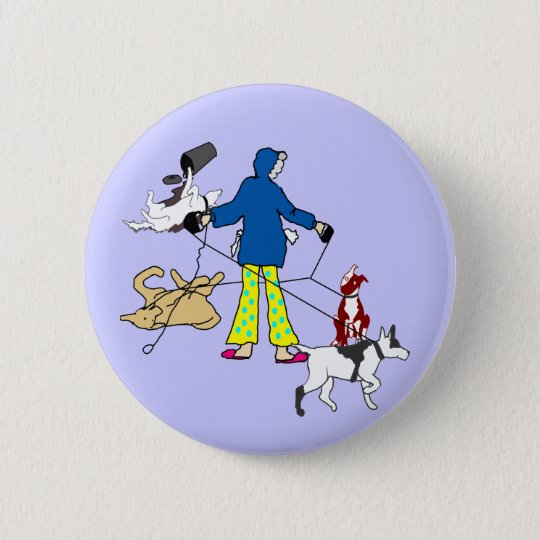 Walking Flyball Dogs 6 Cm Round Badge