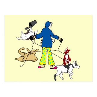 Walking Flyball Dogs Postcard
