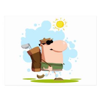 Walking Golfer Carries Club Postcards
