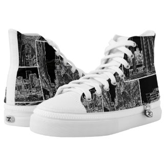 Walking in Downtown Denver Shoes, Outlined Sketch High Tops