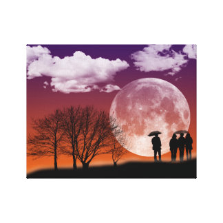 Walking in front of the moon canvas print