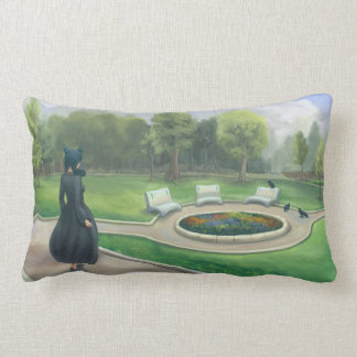 Walking in the Garden Fantasy Art Lumbar Cushion