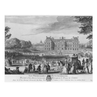 Walking in the Luxembourg gardens, 1729 Postcard