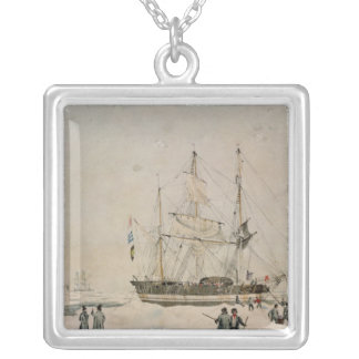 Walking in the Pack, Ross Expedition, 1842 Silver Plated Necklace