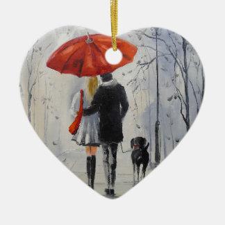 Walking in the rain christmas ornament