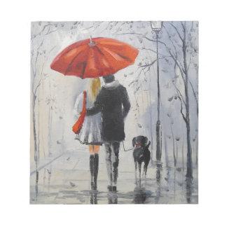 Walking in the rain notepad