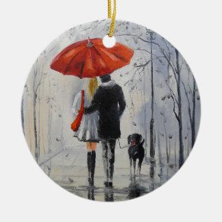 Walking in the rain round ceramic decoration