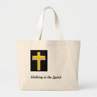Walking in the Spirit/ Christian Cross Tote Jumbo Tote Bag