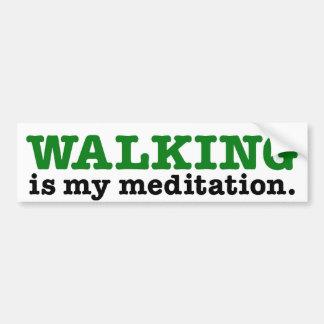 Walking Is Meditation (green edition) Bumper Sticker