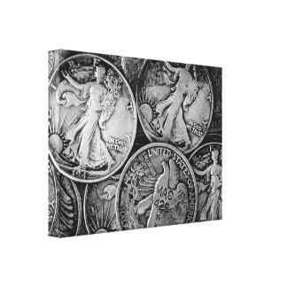 Walking Liberty Coins Gallery Wrapped Canvas