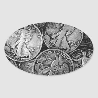 Walking Liberty Coins Oval Sticker