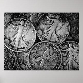 Walking Liberty Coins Poster