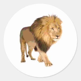Walking Lion Classic Round Sticker