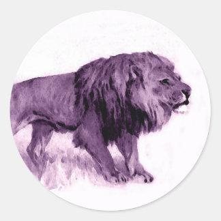 Walking Lion Round Sticker