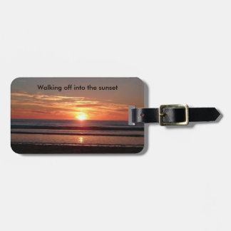 Walking off into the sunset suitcase bag label luggage tag
