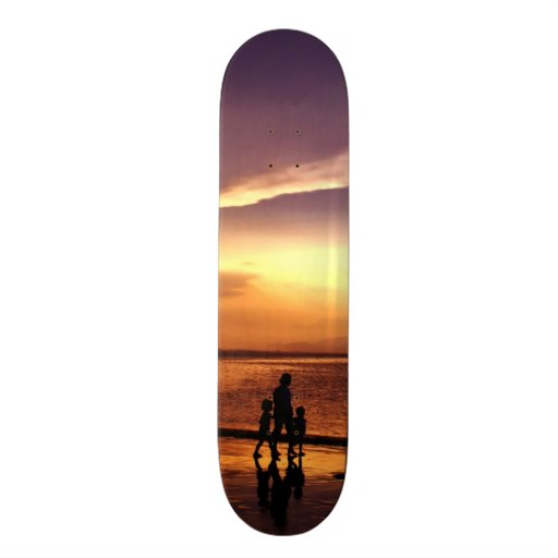 Walking on the Beach at Sunset Skate Deck