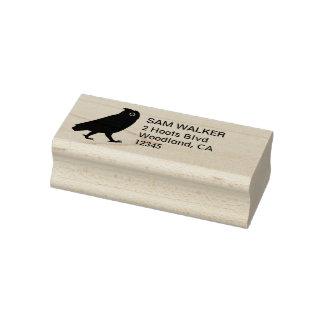 Walking Owl Silhouette Return Address Rubber Stamp