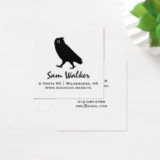 Walking Owl Silhouette Square Business Card