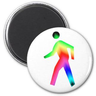 Walking Rainbow Man 6 Cm Round Magnet