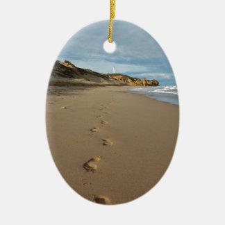 Walking the beach, Great Ocean Road Australia Ceramic Oval Decoration