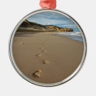 Walking the beach, Great Ocean Road Australia Silver-Colored Round Decoration