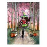 Walking the Cats Halloween Witch Postcard