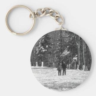 Walking Through the Woods Basic Round Button Key Ring