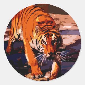 Walking Tiger Round Sticker