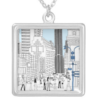 Walking Tourists Silver Plated Necklace
