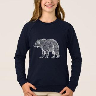 Walking White Bear Long Sleeved Girls Tee