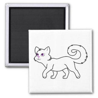 Walking White Cat Square Magnet
