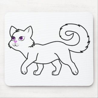 Walking White Cat Mouse Pad