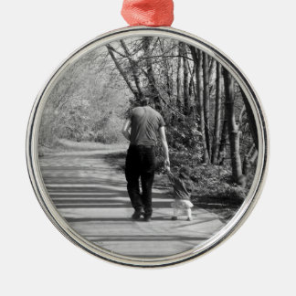 Walking With Daddy Silver-Colored Round Decoration