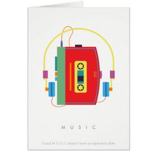 Walkman cassette player, retro music card