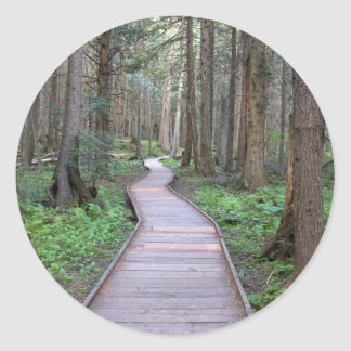 Walkway through woods classic round sticker