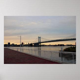 Walkway with Ben Franklin Bridge Poster