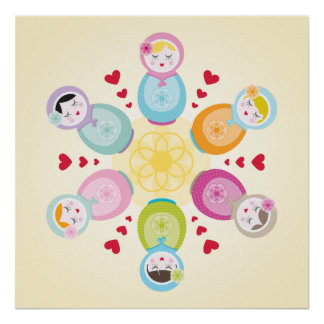 WALL ART :: babushka dolls - mandala