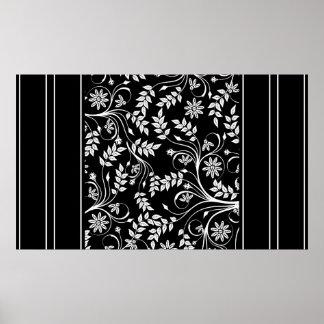 Wall Art Black White Stripe Damask Floral (2) Posters