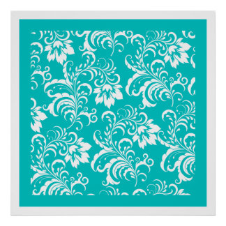 Wall Art Poster Teal Blue White Damask Floral