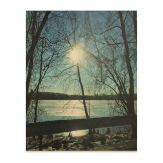 Wall Art - Winter Sunrise on the River Wood Prints