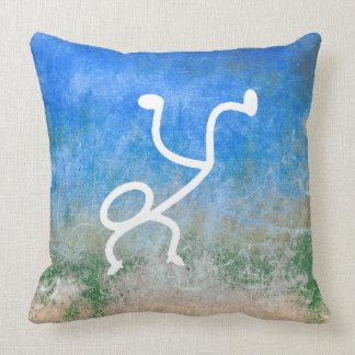 Wall Breakdance Modern Doodles Blue Grungy Cushion