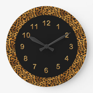 Wall Clock Black Leopard Print Animal