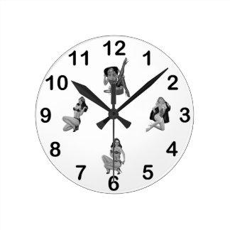 Wall Clock Black White PinUp Girls Mixed