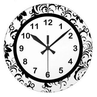 Wall Clock Black White Trim Damask Floral (3)