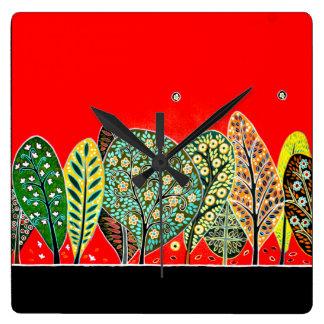Wall clock Folk art Forest