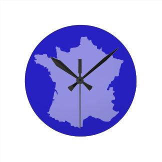 Wall Clock - France Map design Blue