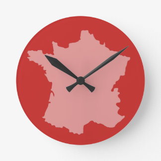Wall Clock - France Map design Red