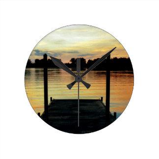 WALL CLOCK L@@K Retro dock lake water sunset