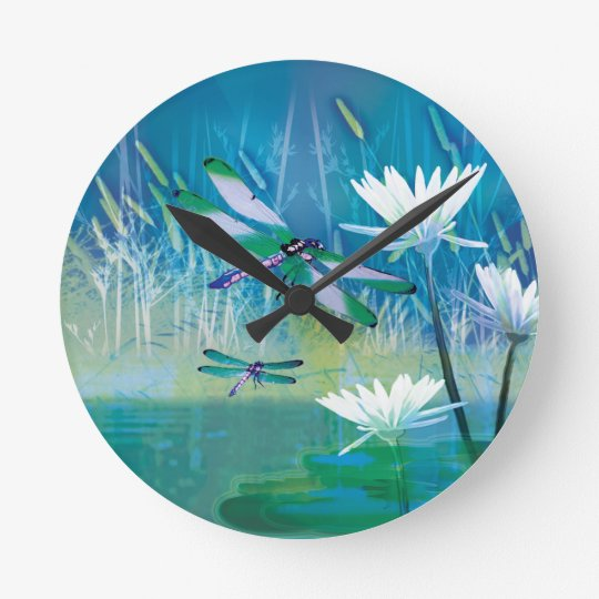 Wall clock lilies and dragonfleis